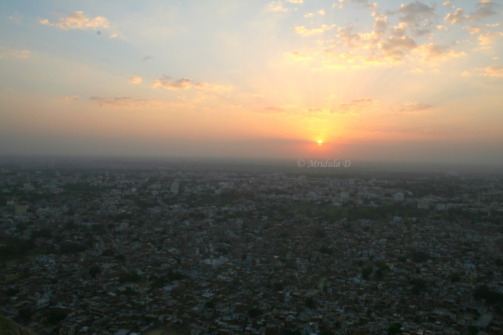 Sunset over Jaipur City, viewed from Nahargarh Fort