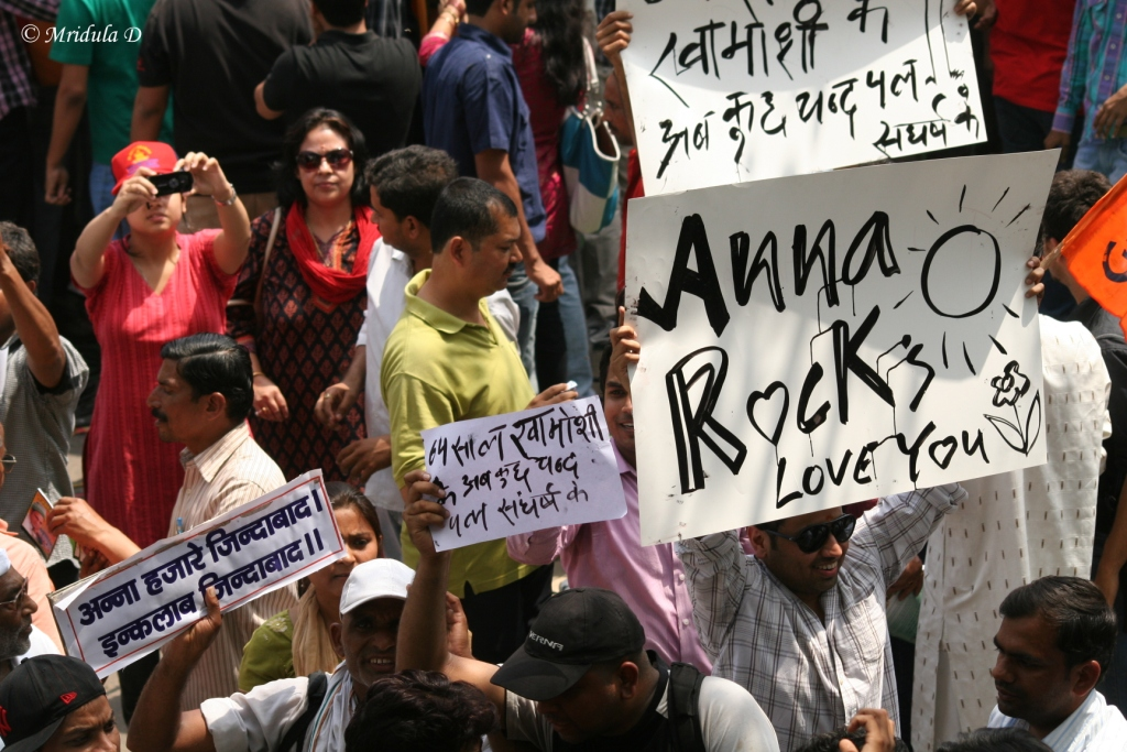 Anna Rocks, A Poster at Anna Hazare Fast at Jantar Mantar