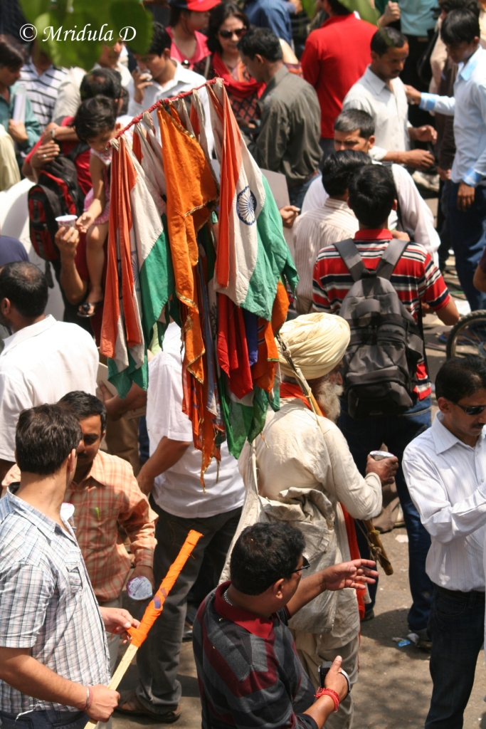 National Flags at the protest by Anna Hazare at Jantar Mantar