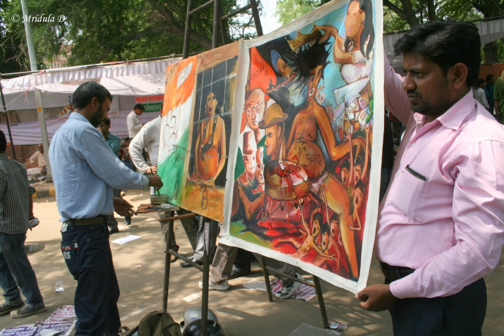 Painting at Jantar Mantar against Corruption