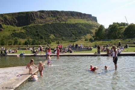 People at the Pool near Holyroodhouse, Edinburgh
