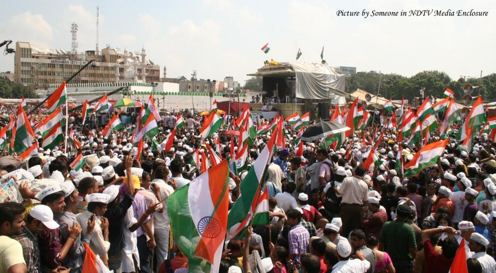 Crowds at Ramlila Maidan the Day Anna Hazare Broke his Fast