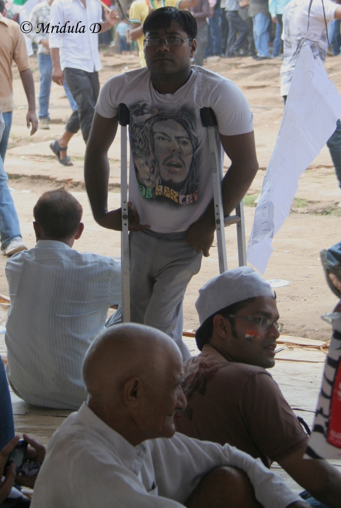On Crutches, Will Protest, Ramlila Maidan