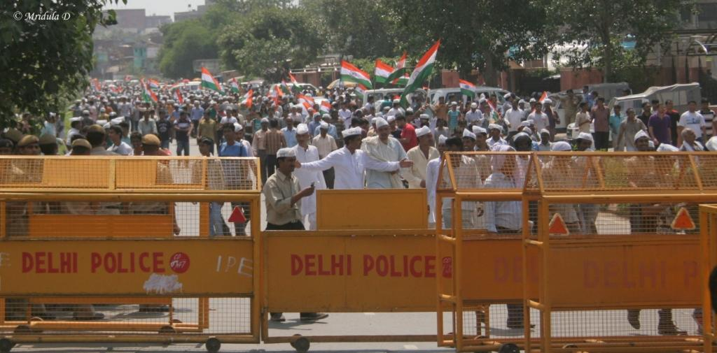 People Coming out of the Ramlila Maidan after Anna Hazare Broke his Fast