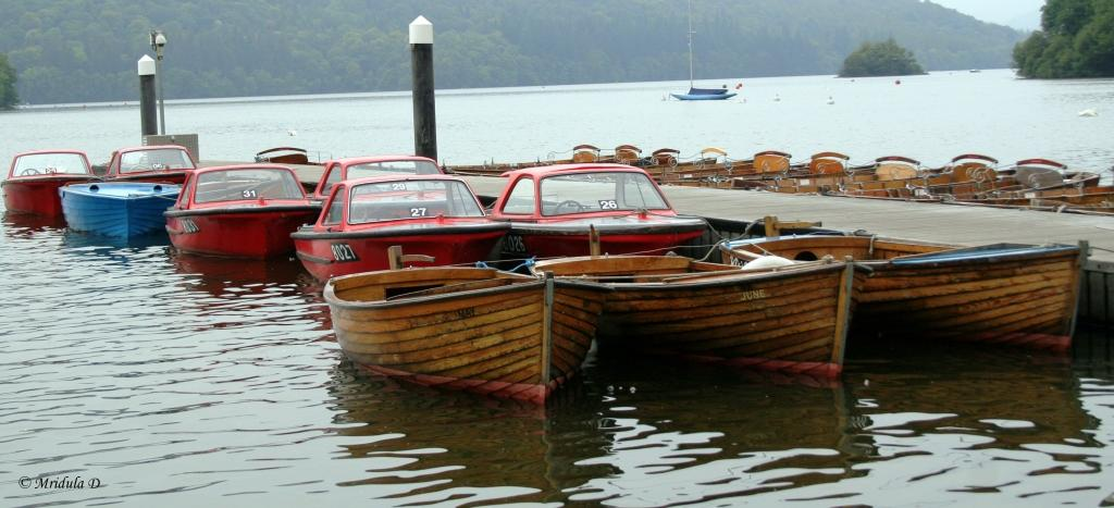 Boats at Lake Windermere, Lake District, UK