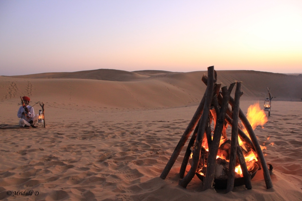The Musician and Bonfire at Sand Dunes, Jaisalmer, Rajasthan