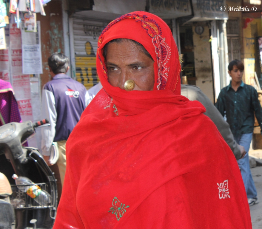 Woman in Red with a Big Nose Ring at Jaisalmer