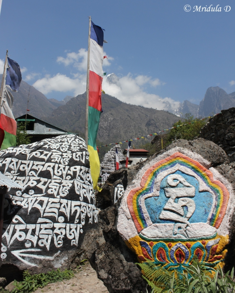 Inscriptions and Flags on the Lukla Phakding Trek, Everest Base Camp, Nepal