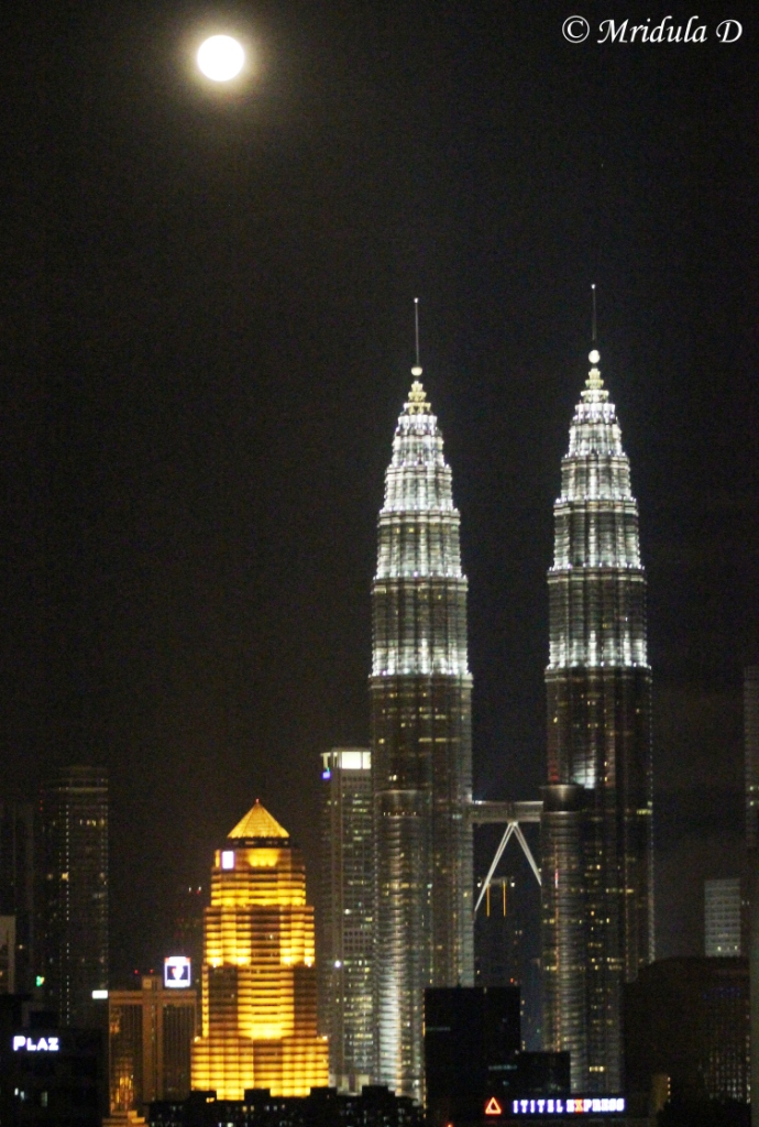 Petronas Twin Towers with Moon