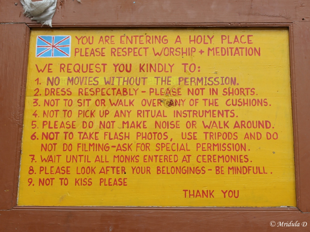 Sign Board outside Tengboche Monastery, Everest Base Camp Trek, Nepal