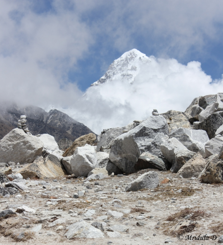 A Glimpse of Pumori on the Walk from Dingboche to Lobuje, Everest Base Camp Trek, Nepal