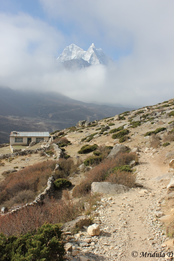 A Lone House and a Bit of a Peak, Everest Base Camp Trek, Nepal