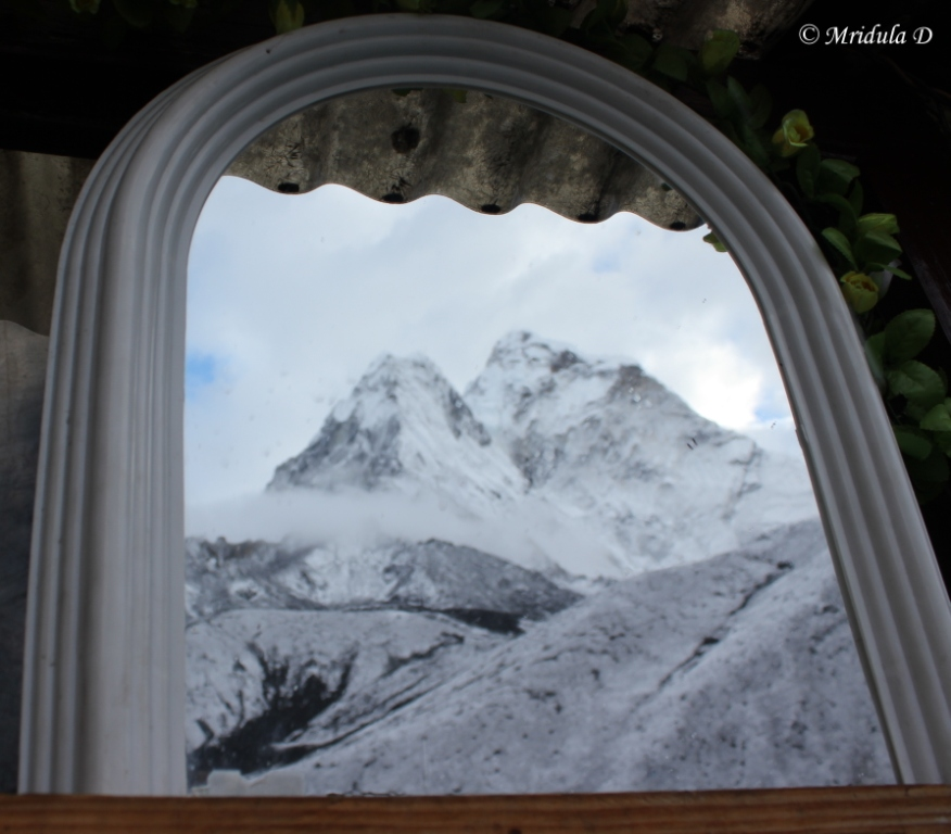 Ama Dablam reflected in the Mirror above the Tooth Brush Stand, Dingboche