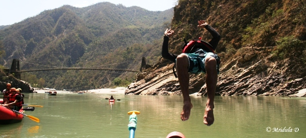 Vikram Doing a Summersalt while Rafting on the Ganges, Uttarakhand, India