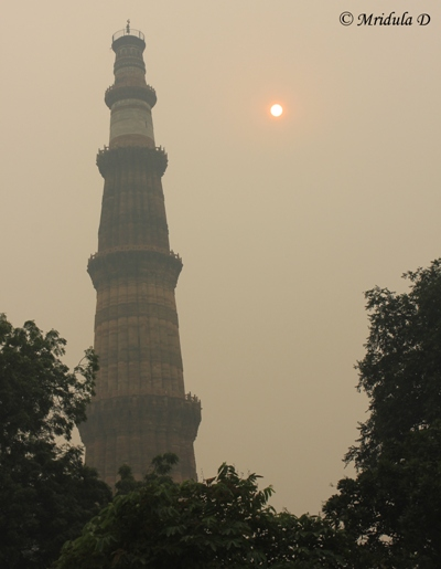 Qutub Minar, Delhi seen Through the Winter Haze