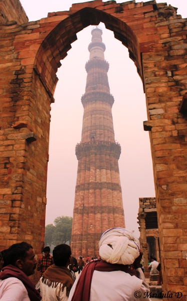 Tourists at Qutub Minar, Delhi