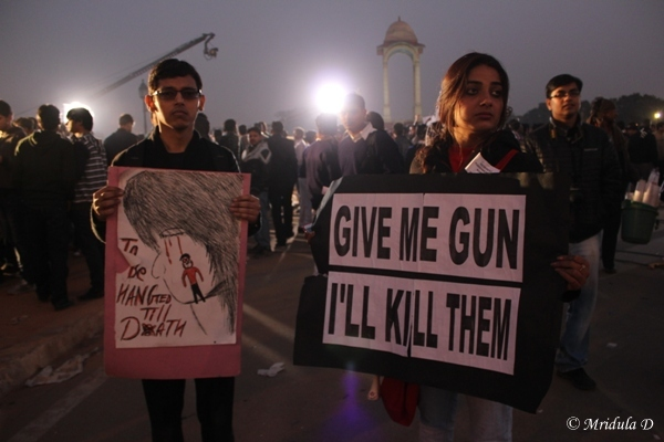 Protesting at India Gate, Delhi