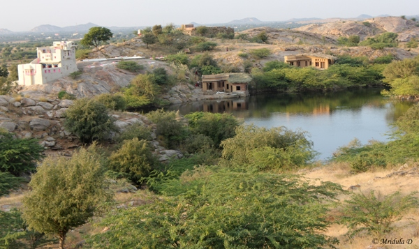 The Lakshman Sagar Lake and the Pink Restaurant from the Walk
