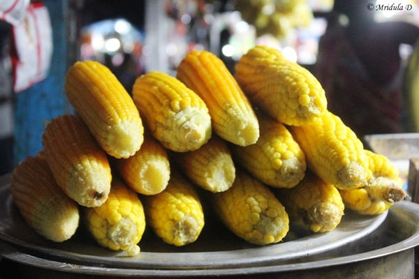 Sweet Corn on Cobs, Street Food, Chennai, India