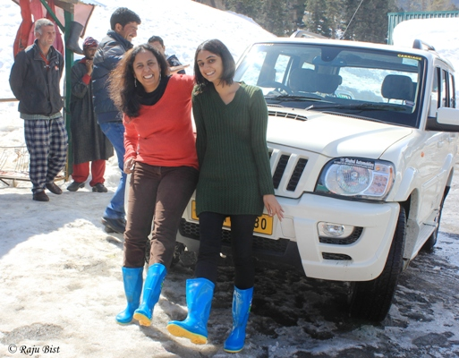 Neehar and I with Electric Blue Snow Boots, Gulmarg