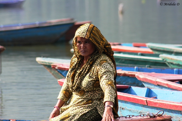 A Boat Women at Phewa Lake, Pohkara, Nepal