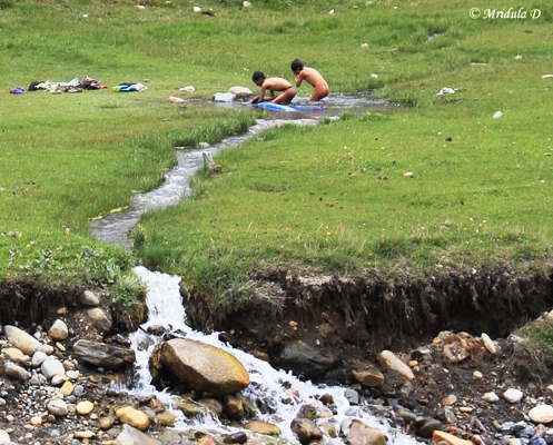 Having Fun in the Stream, Manang, Annapurna Circuit Trek, Nepal