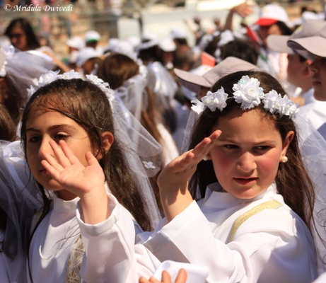 Girls Cheering Pope Francis, Amman Stadium, Jordan