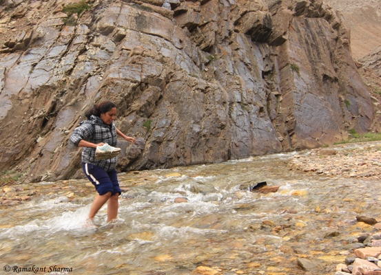 Crossing a Stream on the Batal-Chandratal Road