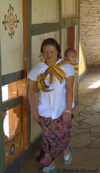 Mom and Child at the Phunaka Dzong, Bhutan