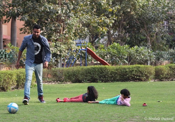 Playing football with kids