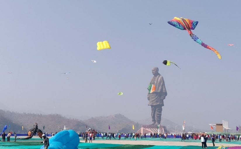 statue of unity during the international kite festival